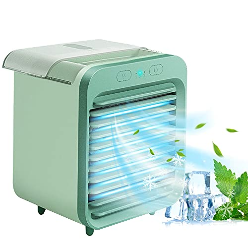 Kaishengyuan Mini Raffreddatore D'aria,4 in 1 Condizionatore D'aria Portatile, Refrigeratore D'aria USB, Refrigerazione, Umidificazione, per Casa, Camera da Letto, Ufficio, Ester(Verde)