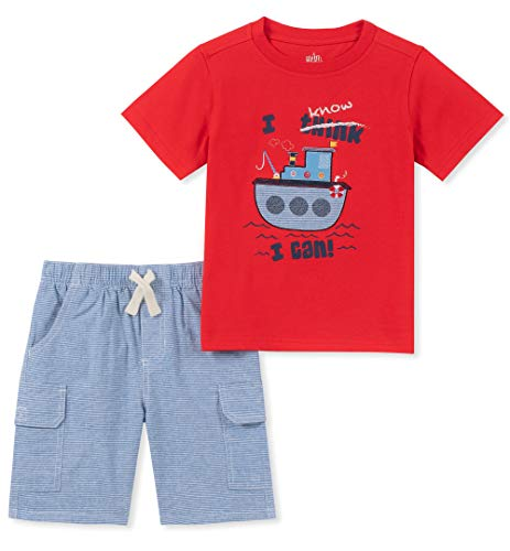 Kids Headquarters Baby Boys 2 Pieces Shorts Set, red/Blue, 12M
