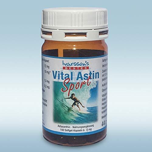 VitalAstin Sport 8 mg - 100 Kapseln - versandkostenfrei - NEUE FORMEL mit natürlichem Astaxanthin verstärkt mit Zink und Vitamin B1