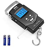 Dr.meter Backlit LCD Display Fishing Scale, 110lb/50kg Electronic Balance Digital Fishing Postal Hanging Hook Scale with Measuring Tape, 2 AAA Batteries Included