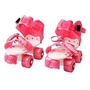 mitravadan chhotu Kids Age 5-12 Years Adjustable 4 Wheel Skating Shoes with School Sport-Pink Color for Girls (Pink)