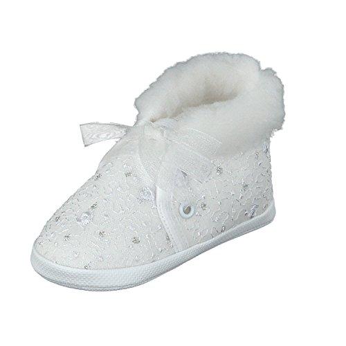 Taufschuhe Babyschuhe Lauflernschuhe Kinderschuhe, Festliche Baby Schuhe, Spitzenstoff, Gefüttert,Weiß-spitzenstoff,17 EU (Herstellergröße 10)