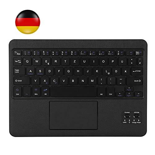 AGPTEK QWERTZ Bluetooth Tastatur, Kabellose Tastatur mit Touchpad und integriertem Akku, leicht, tragbar und robust, ultraflache Laptop Tablet Tastatur für Android und Windows (schwarz)