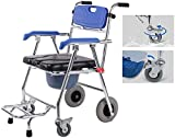 Folding Wheelchair, Rolling Commode Chair - Shower Chair Waterproof Aluminum Portable Bedside Commode