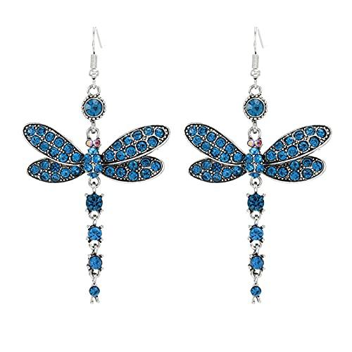 DFDLNL Pendientes Colgantes para Mujer Pendientes de libélula Pendientes de Oro geométricos Vintage Pendientes de Gota de acrílico Negro Azul