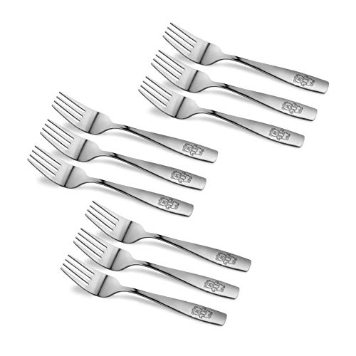 9 Piece Stainless Steel Kids Forks, Kids Cutlery, Child and Toddler Safe Flatware, Kids Silverware, Kids Utensil Set, Includes A Total of 9 Forks for Great Convenience, Ideal for Home and Preschools