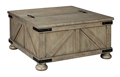 Signature Design by Ashley Aldwin Farmhouse Square Coffee Table with Lift Top for Storage, Light Brown
