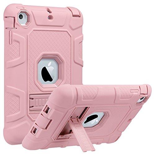 ULAK iPad Mini 1/2/3 fodral, [rustningsserien] 3-i-1 kraftigt stötsäkert skyddsfodral med ställ mjukt silikon + hårt PC-fodral för Apple iPad Mini/Mini 2/Mini 3, roséguld