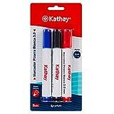 Kathay 86211399. Pack de 3 Rotuladores Para Pizarra Blanca, Color Azul, Negro, Rojo, Punta Cónica 3mm