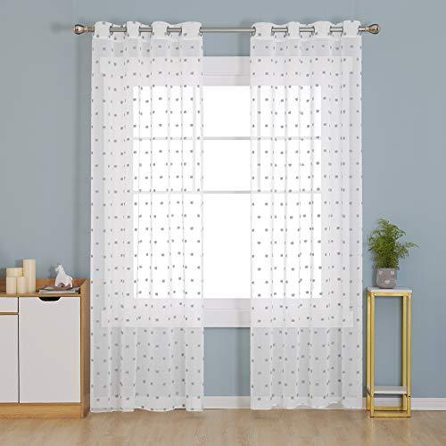 Deconovo Visillos para Cortinas Traslúsidas Salón Blancos Infantiles para Ventanas Dormitorio de Ventana Voile Gasa 140x245cm Gris