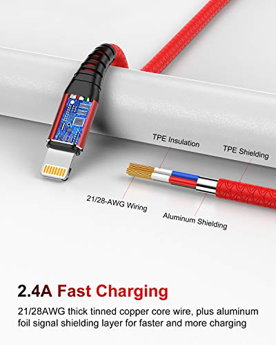 2Pack 2M iPhone Ladekabel Lang, [MFi Certified ] 2Meter Lightning Kabel, Schnellladung iPhone USB Ladekabel für iPhone 11/XS/XSMax/XR/X/8/8 Plus/7/7Plus/ 6s/6/6Plus/5S/5, iPad.Rot