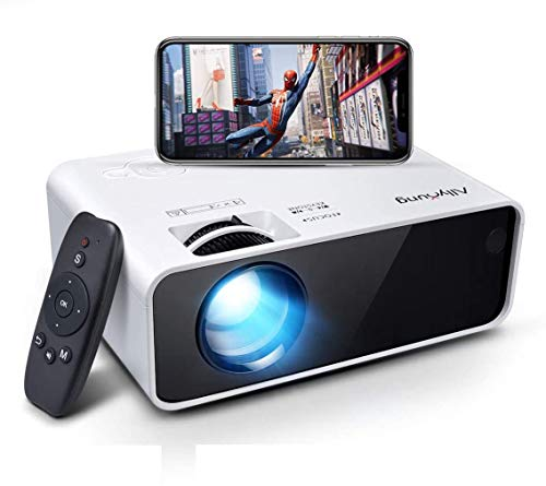 Allyoung Mini WiFi Beamer Beamer, Full HD 1080P Beamer, Native 720P 6000 Lumen, kompatibel mit HDMI USB Micro SD VGA AV, Smartphone, Videospiele, Computer, Filme, weiß