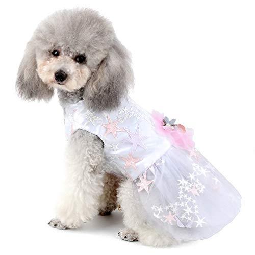 WEIJ Huisdier Bruidsjurk voor Kleine Hond Meisje Bloem Sterren Tulle Tutu Rok Puppy Kleding, XS, Kleur: wit