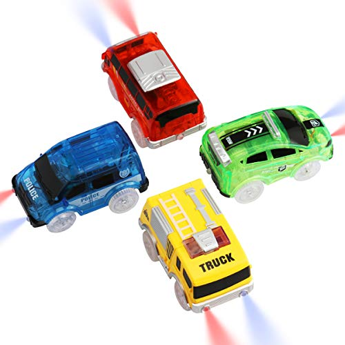 ARRAROWN 4 PCS Tracks Cars Replacement Race Cars with 5 Flashing LED Lights, Track Accessories Toy Cars Glow in The Dark Compatible with Most Tracks for Kids Boys and Girls