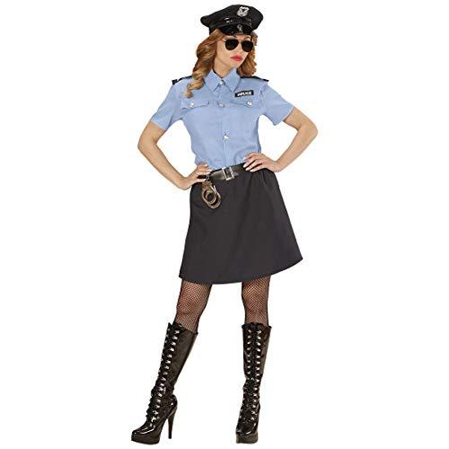 NET TOYS Schickes Polizistin-Kostüm für Damen - Blau-Schwarz L (42/44) - Hochwertige Frauen-Verkleidung Politesse & Police Officer - EIN Blickfang für Karneval & Mottoparty