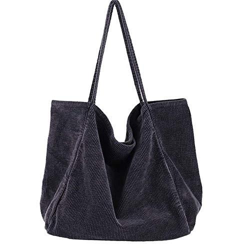 Funtlend Umhängetasche Damen Groß Handtasche Schultertasche Cord Tasche Damen Crossbody Tasche Einkaufstasche Damen Shopper-40*40*23cm (Grau)