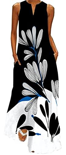 WINKEEY Vestido Maxi para Mujer Estampado Floral Mariposa Bohemio Vestido de Verano con Bolsillos Sin Mangas Moda Talla Grande, Flores en Blanco Negro XXL