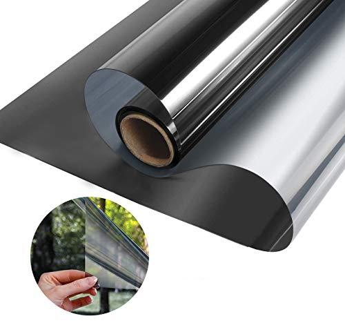 Kuson Fensterfolie Sonnenschutzfolie für Fenster Selbsthaftend Spiegelfolie UV-Schutz Sichtschutzfolie Silber 40x400cm