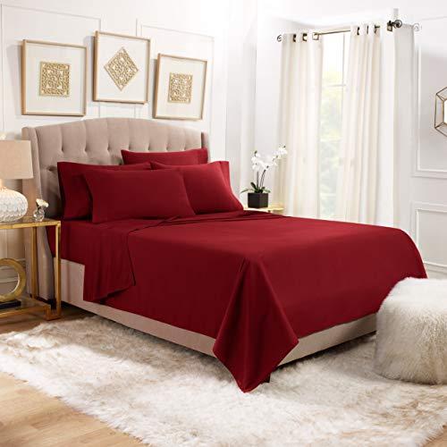 6 Piece Queen Sheets - Bed Sheets Queen Size – Bed Sheet Set Queen Size - 6 PC Sheets - Deep Pocket Queen Sheets Microfiber Queen Bedding Sets - Queen - Burgundy Red
