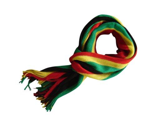 Planete Supporter Echarpe rayée Multicolore Noir Homme Femme Style Jamaïque Rasta Bob Marley