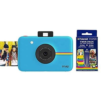Polaroid Snap Instant Digital Camera (Blue) w/ 20 Twin Pack Zink 2x3 Photo Paper