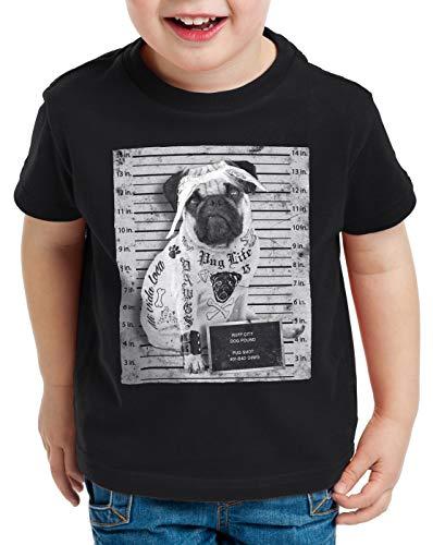 style3 Pug Tattoo T-Shirt für Kinder mops Hund Gangster Rock Motorrad Tattoed Biker usa, Farbe:Schwarz, Größe:116