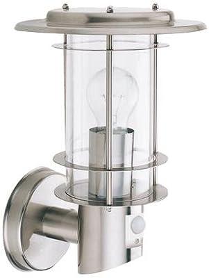 Searchlight 6211 Outdoor Satin Silver Ip44 Up Lantern Wall Light With Pir Amazon Co Uk Lighting