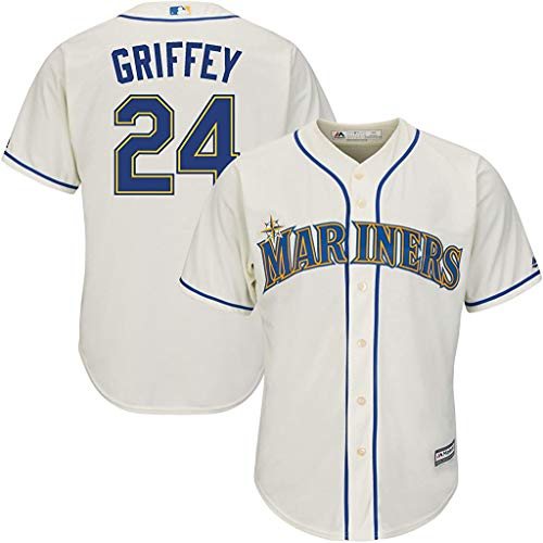 Ken Griffey Jr Seattle Mariners Youth 8-20 Cream Alternate Cool Base Replica Jersey (Small 8)
