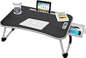 Callas Multipurpose Foldable Laptop Table with Cup Holder | Drawer | Mac Holder | Table Holder Study Table, Breakfast...