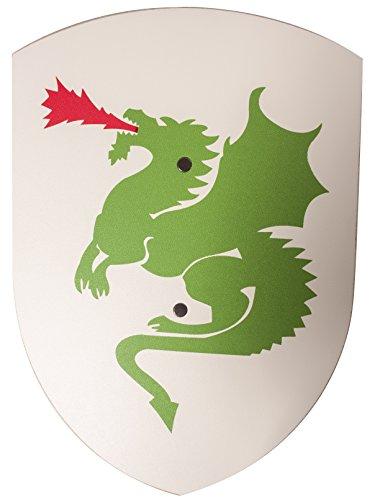 VAH - Stabiles, gebogenes Ritter Schild mit Drachen Motiv aus Pappelholz - kleines Modell: 27/37cm - Farbe: weiß [Unbedenkliche Farben | 1 genieteter Halteriemen aus Kunstleder | Made in Germany]