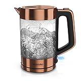 Arendo - Glas Wasserkocher Edelstahl - 1,7 Liter - 2200W - Cool Touch Griff - One Touch Verschluss - automatische Abschaltung - integrierte Kabelführung - Überhitzungsschutz - Kupfer Design