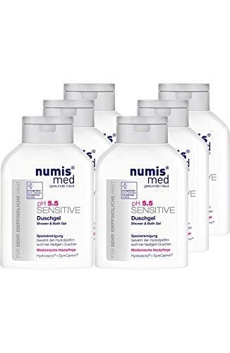 numis med Duschgel & Badegel ph 5.5 SENSITIVE - Hautpflege vegan & seifenfrei - Shower Gel für sensible, feuchtigkeitsarme & zu Allergien neigende Haut im 6er Pack (6x 200 ml)