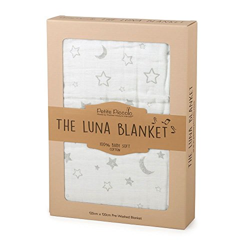 Petite Piccolo The Luna Blanket 8001ST - Manta para bebé, diseño de Estrellas y Lunas, Color Blanco
