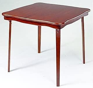 Baron Barclay Folding Cherry Finish Wood Card Table with Shaped Edges