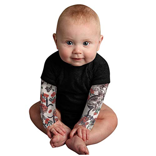 H.eternal(TM) Bebé recién nacido bebé niño tatuaje impreso manga larga patchwork mameluco camiseta casual ropa interior leggings trajes regalo para niños, Negro, 18 meses