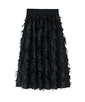 Hiheart Women Casual Wear Feather Tessel Knee Length A-Line Skirt Black F