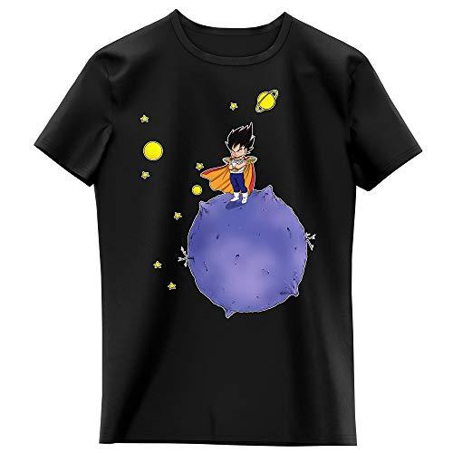 Okiwoki T-Shirt Enfant Fille Noir Parodie Dragon Ball Z - DBZ - Végéta - Le Petit Prince Saiyan (T-Shirt Enfant de qualité Premium de Taille 9-10 Ans - imprimé en France)