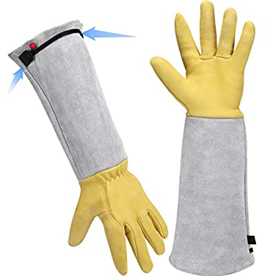 Gardening Gloves for Women/Men - Adjustable Cuff Goatskin Leather Elbow Long Sleeve Garden Gloves Gauntlet Puncture Thorn Proof Cactus Planting Rose Pruning Gloves Protective Work Gardener Gifts