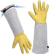 Gardening Gloves for Women/men - Rose Pruning Gloves,Adjustable Cuff- Long Sleeve Goatskin Leather Garden Gloves,Thorn-Proof Yard Work Gauntlet ,Resistant Puncture Cacti Planting Gardener Gift-Medium