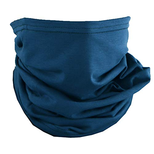Cotton Face Mask Bandana Tube Scarf Made in America Solid Navy