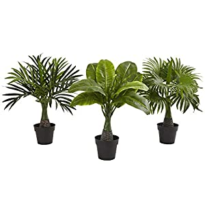 Set of 3 Decorative Mini Fountain, Banana & Areca Palm Trees Artificial Indoor Realistic Palms Three Piece Greenery Tropical Feaux Plants, Polyester Blend