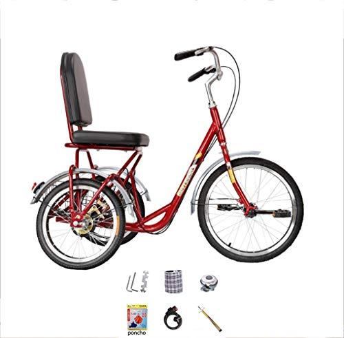 Triciclo Adulto Bicicleta de 3 Ruedas Pedal de Mediana Edad y Ancianos Exterior Bazi Bike City cómodo Pedal de pie Humano Bicicleta de Ocio Transporte portátil con Cesta de Almacenamiento