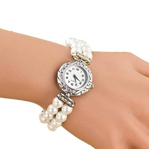 Uhren Frauen-Perlen-Quarz-Armbanduhr (blau) Asun (Color : White)