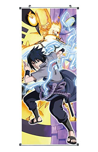 CoolChange Großes Naruto Rollbild | Kakemono aus Stoff | Poster 100x40cm | Bijuu Moodo | Motiv: Sasuke Uchiha