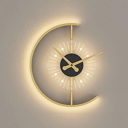 LEXINGCHENG 2 1W LED Lámpara de Pared Decorativa de Reloj Creativo, luz Moderna de vanidad Simple, Pared de Enchufe de Oro, luz de baño de Mediados de Siglo, luz de Pared de Lujo de Lujo luz de Pared