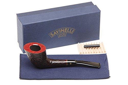 Savinelli Italian Tobacco Smoking Pipes, Roma Rusticated Black 904 KS 6mm