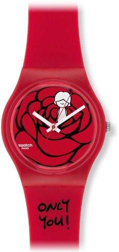 Swatch GZ264 - Reloj analógico de Cuarzo para niña, Correa de plástico Color Rojo