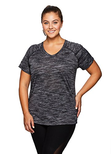RBX Active Women's Plus Size Printed Short Sleeve Workout T-Shirt Black 2X