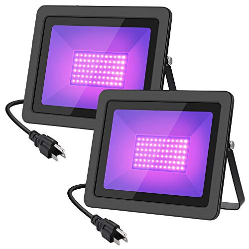 Black Light WELKEY PLUS 2 Pack 80W LED Black Light Flood Light with Plug(6ft Cable), IP66, for Blacklight Party, Stage Lighting, Aquarium, Body Paint, Fluorescent Poster, Neon Glow …