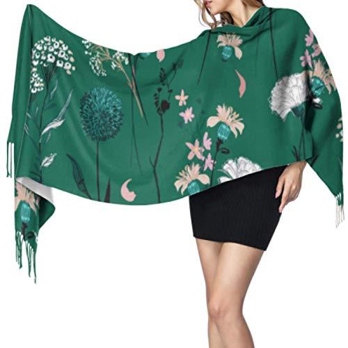 Moda creativa Hoja de flor de primavera Bufandas para mujer Chales y abrigos ligeros Bufanda para mujer cálida Ligero 77x27 pulgadas / 196x68cm Pashmina suave grande extra cálido